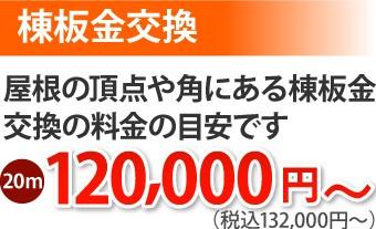 棟板金交換20m、132000円~