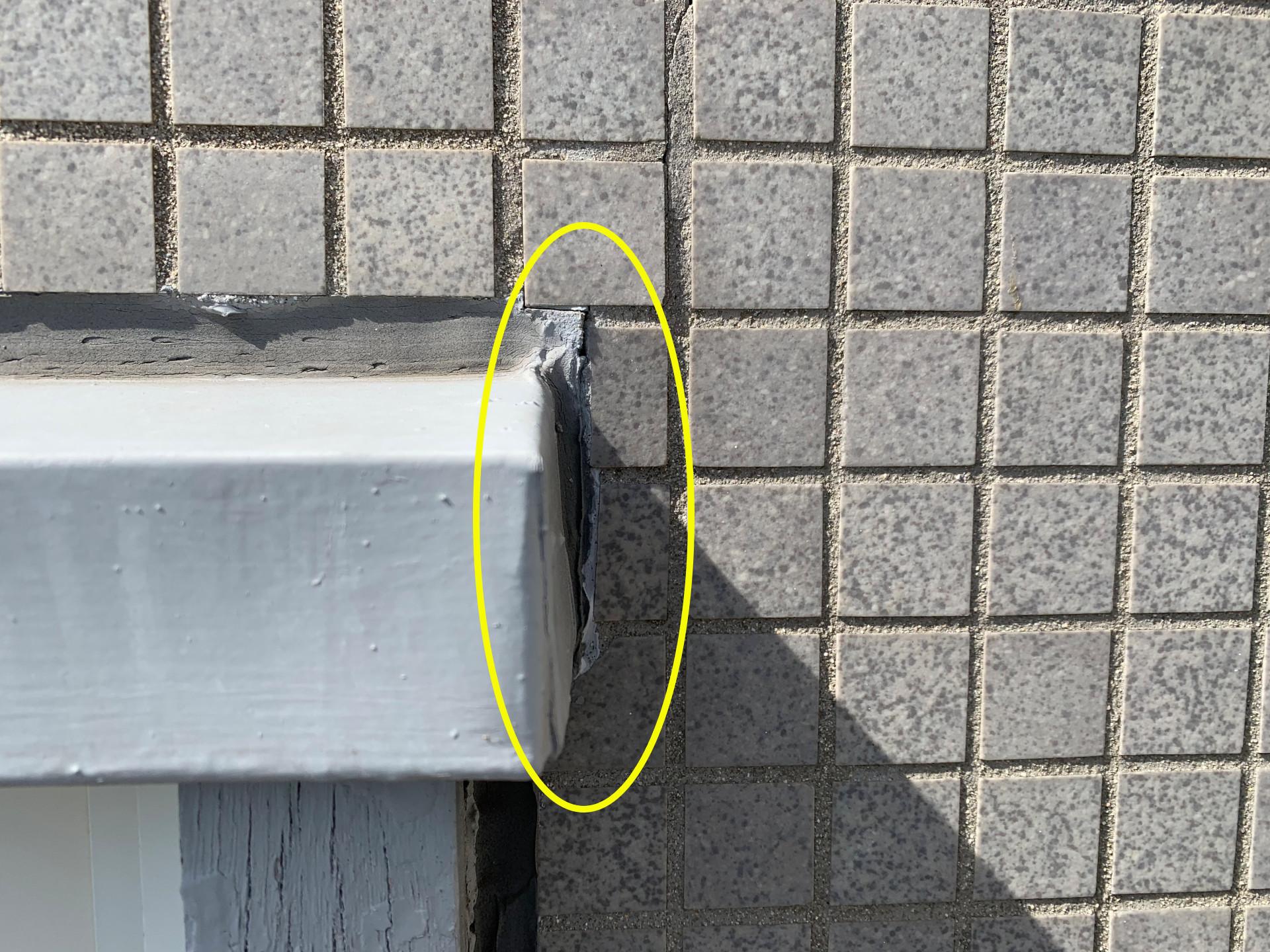 水切り板金と外壁の取り合い部分
