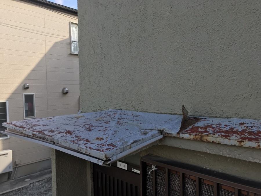 台風直撃 庇屋根調査