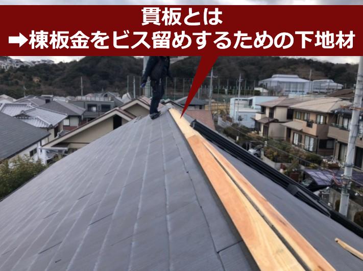 スレート屋根の貫板