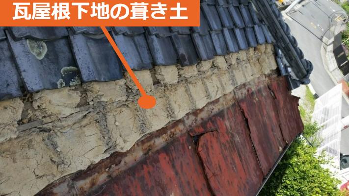 瓦屋根の葺き土