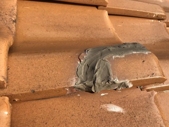 雨漏り葺き替え点検で瓦補修後