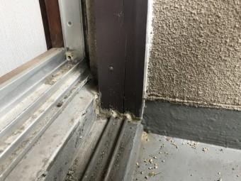 雨漏り点検時の2階掃き出し窓のサッシ