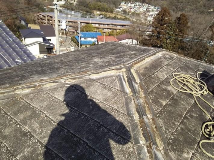カラーベスト屋根の棟の撤去