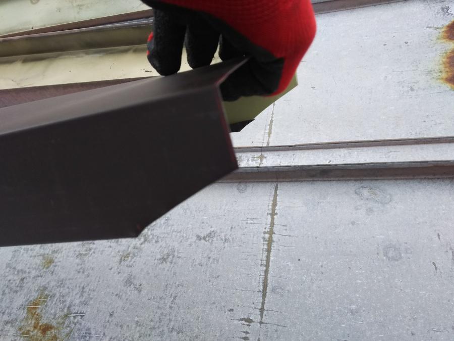 笠木板金加工 現場で加工します