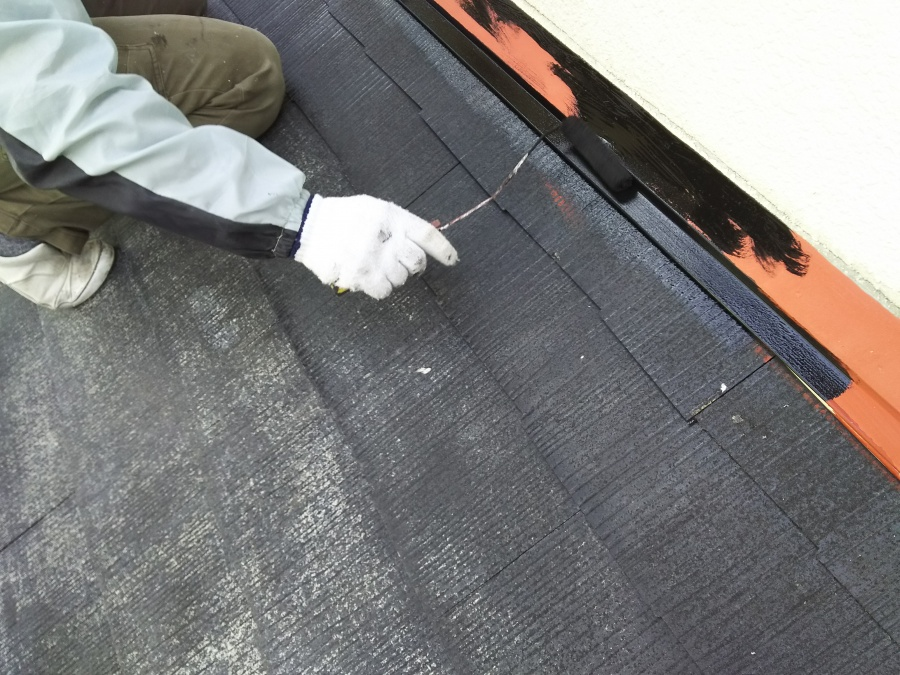 屋根塗装工事 下屋根 上塗