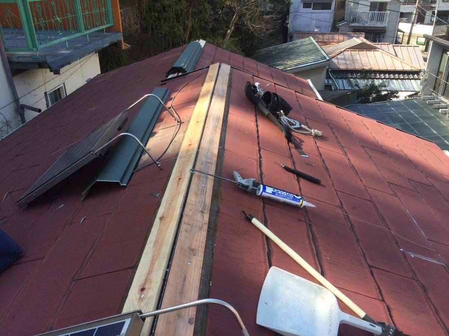 コロニアル屋根新しい貫板設置