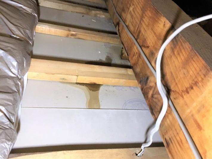 屋根カバー工事前に発見 雨漏り箇所天井裏