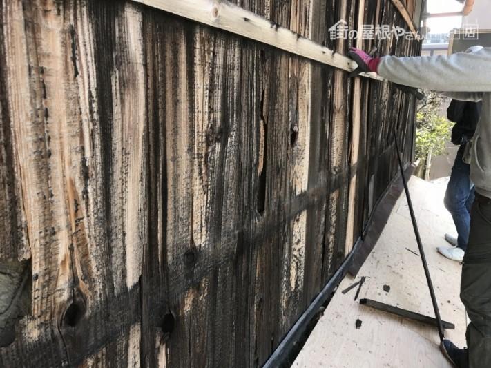 外壁焼き板の捲り