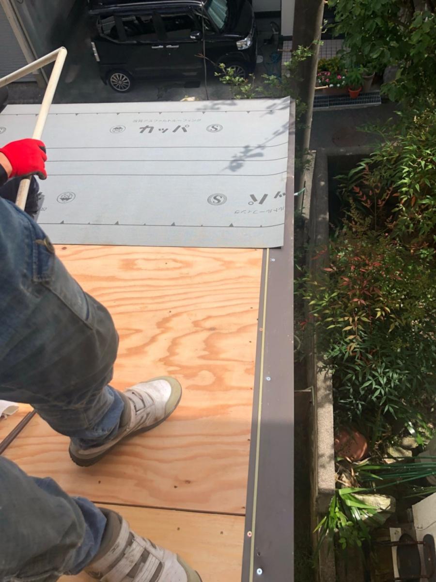 葺き替え工事立平葺き 防水シート張り