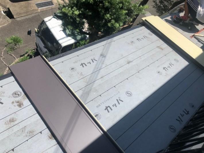 神戸市須磨区 葺き替え工事立平葺き 立平葺き