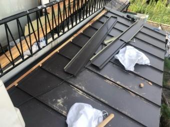 神戸市須磨区 葺き替え工事立平葺き 立平敷き込み完了