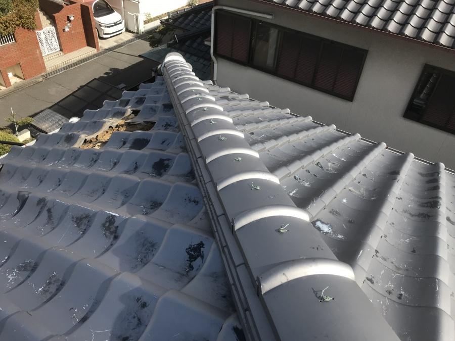 雨漏り個所直上隅棟の様子