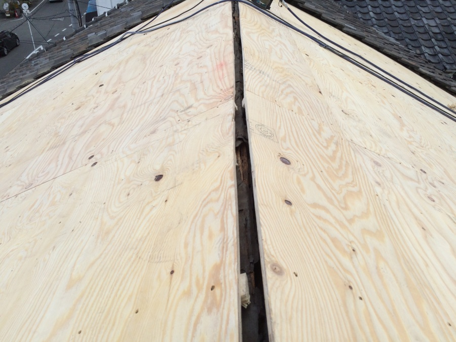 葺き替え工事 野地板の施工完成
