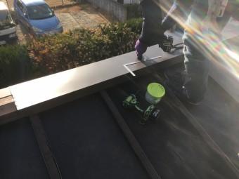 ガルバリウム鋼板の笠木取付・加工