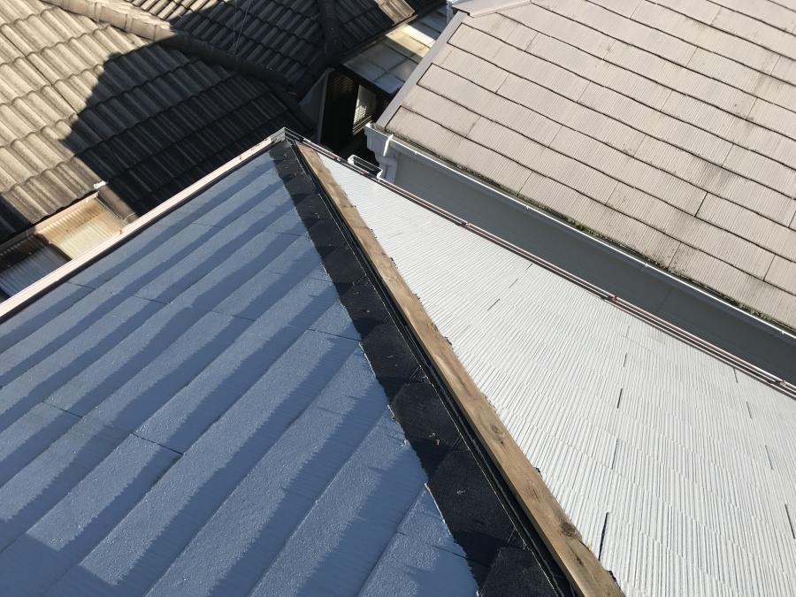 カラーベスト屋根の棟板金の風災による飛散