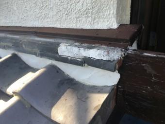 壁際ののし瓦がなくなっておりその部分は以前補修を行ったようです!