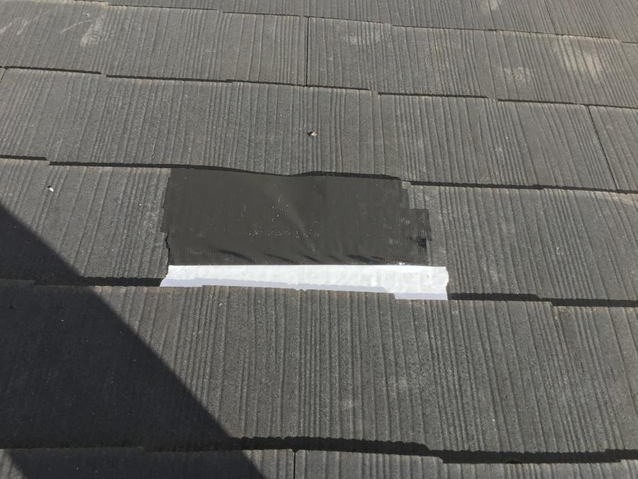 屋根の穴あき仮養生
