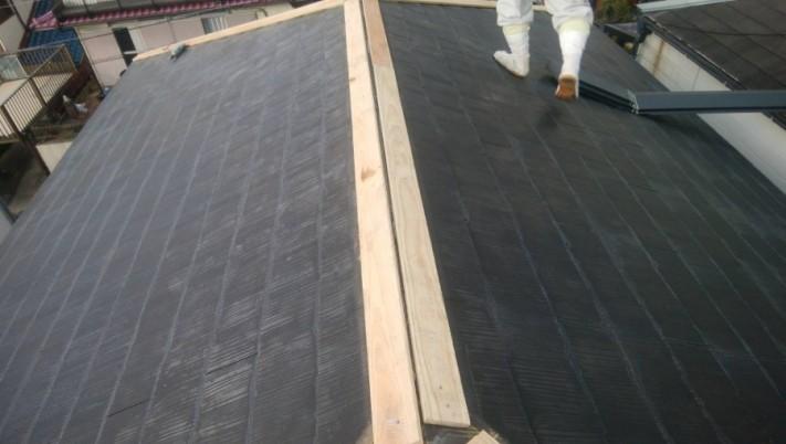 新設した屋根の貫板