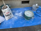 神戸市兵庫区 新しい漆喰を練ります。