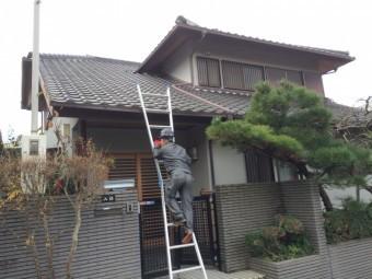瓦屋根梯子掛け職人現地調査