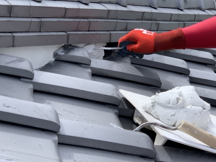神戸市中央区 屋根修繕 面戸漆喰施工