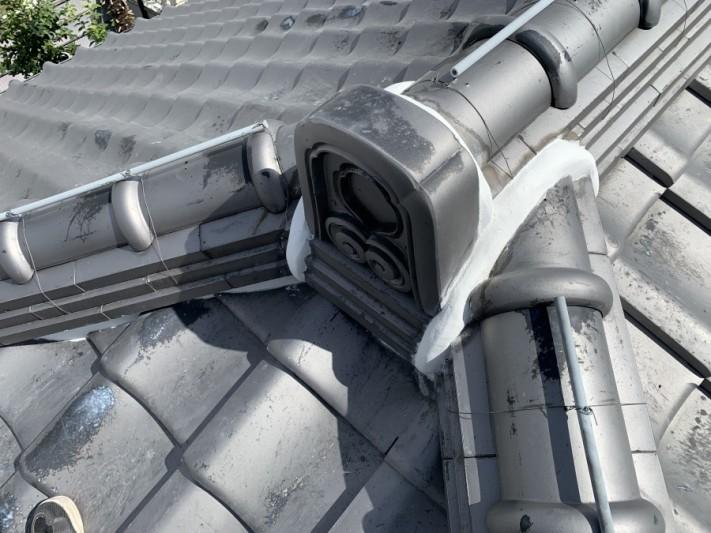 神戸市中央区 屋根修繕 鬼瓦廻り・棟の継ぎ目の漆喰施工