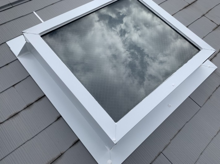 神戸市北区 トップライト(天窓)の雨漏り修繕工事 トップライト板金巻工事完成