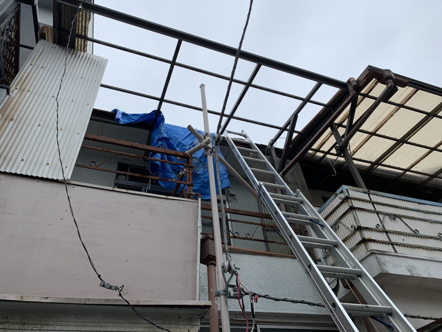 屋根葺き直し前の調査で梯子の架設