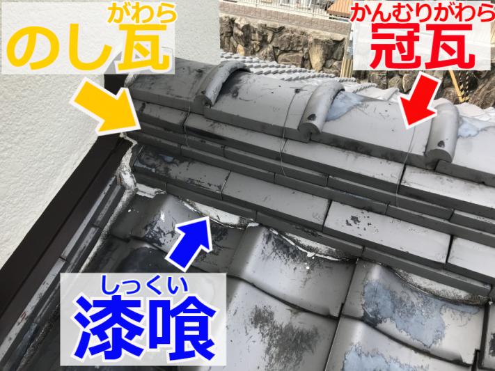 瓦屋根の棟部の解説
