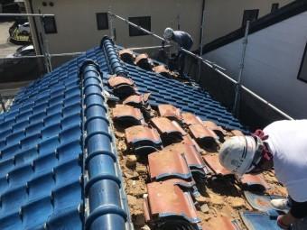 神戸市北区 ガルバリウム屋根に葺き替え 瓦捲り