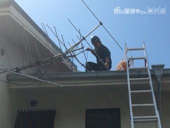 アンテナ撤去に向かう松本和也