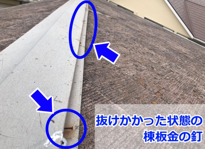 棟板金の釘が腐食して浮いている状態