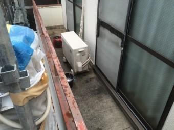 ベランダ防水工事 荷物の移動