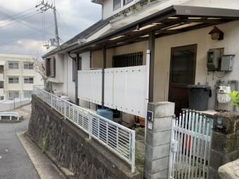 神戸市北区 足場を立てるための波板を撤去しなければいけません