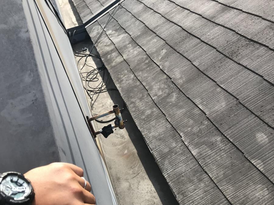 スレート葺きの屋根、苔の繁殖により足跡がくっきりと見えます。