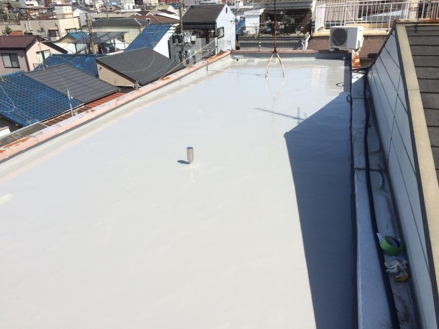 ウレタン塗布完了後の陸屋根
