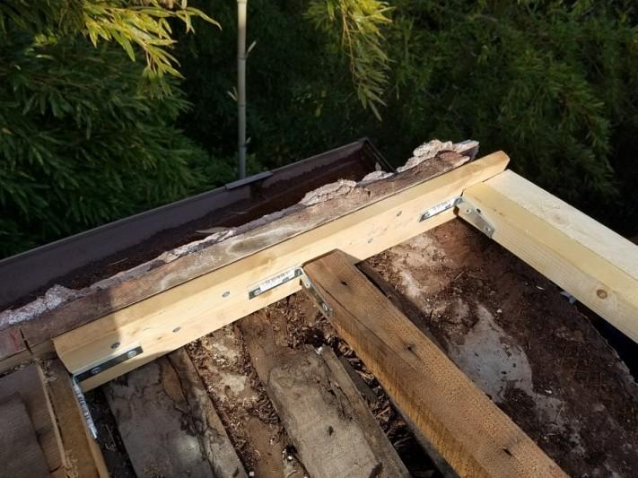 軒先も木を入れ軒樋の固定場所を作ります。