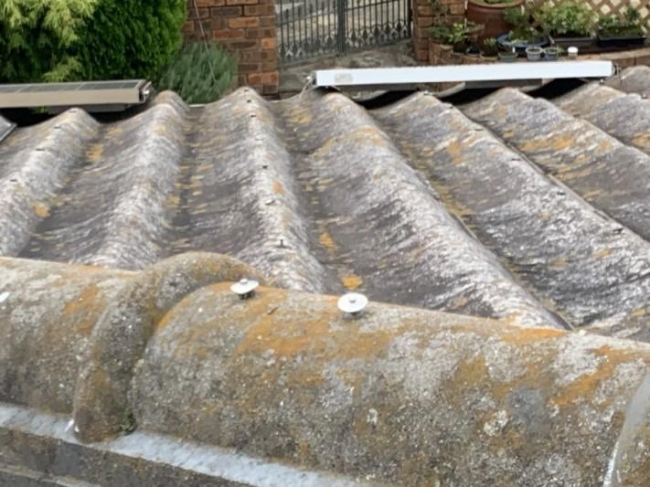 三木市 大和スレート Yかわら屋根 棟固定釘の浮き