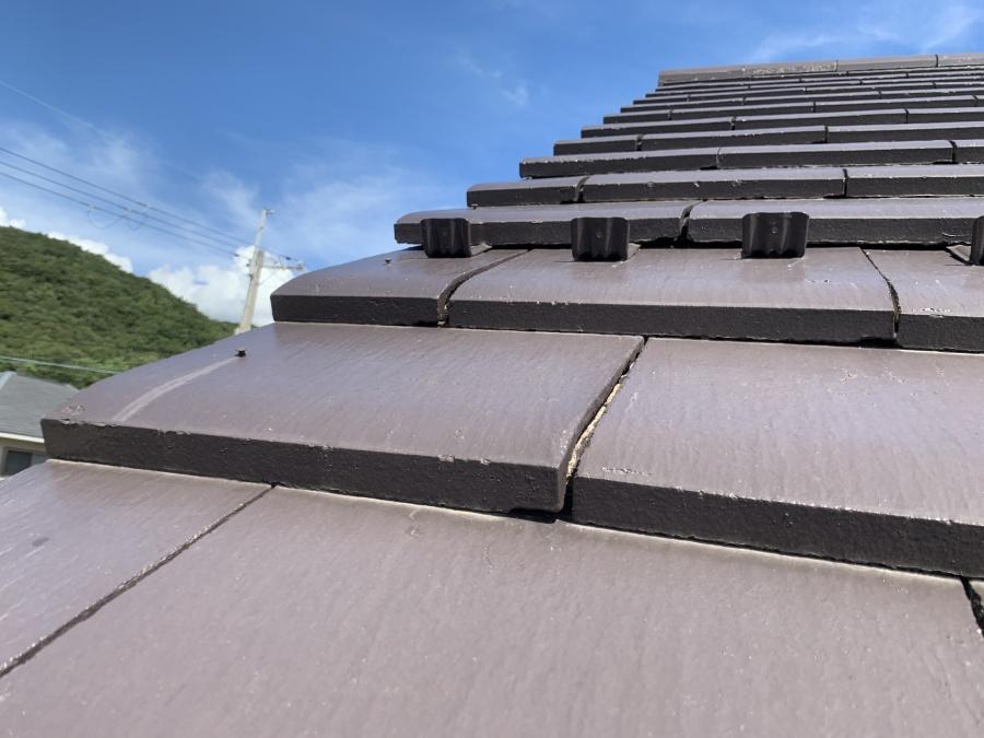 屋根修繕前袖瓦釘の浮き