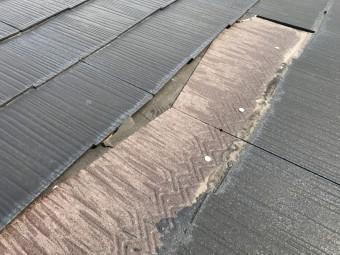 割れたスレート屋根