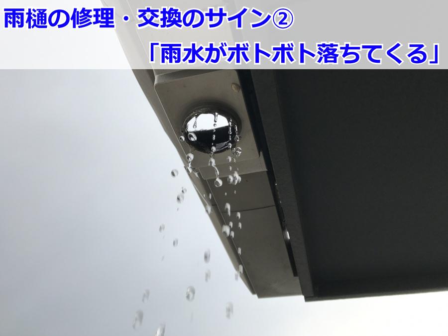 集水器・軒樋が外れた雨樋