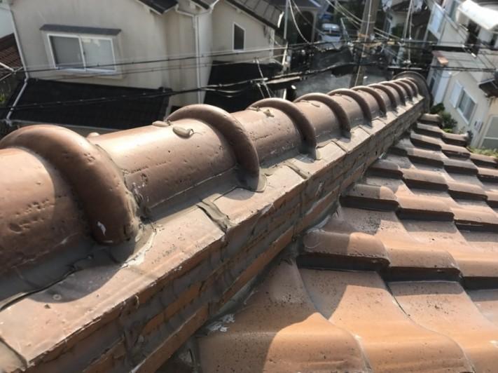雨漏り葺き替えで瓦屋根点検②