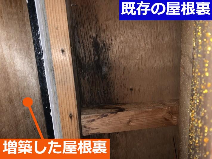 雨漏り発生した屋根裏