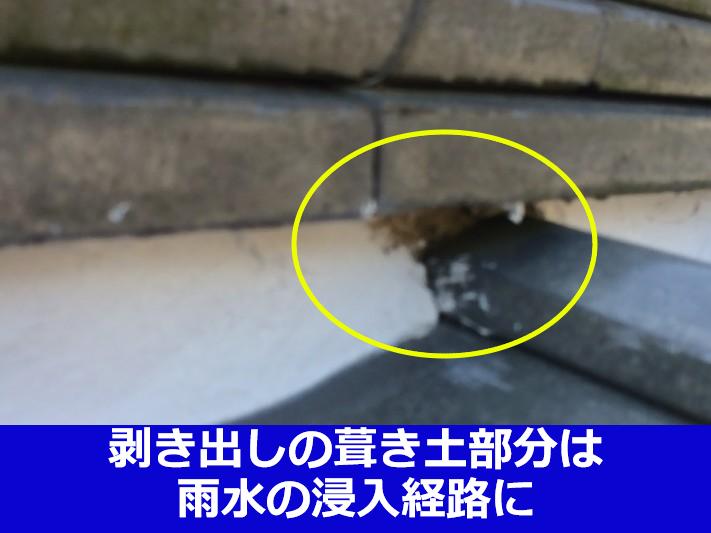 剥き出しの葺き土は雨漏りの原因に