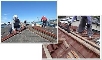 屋根のリフォーム作業風景