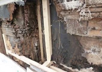 外壁の腐食した防水紙や断熱材を取り除いた写真